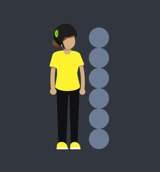 '6-head' to make it look young. Also, yellow is one of the brand colors to make it recognizable.